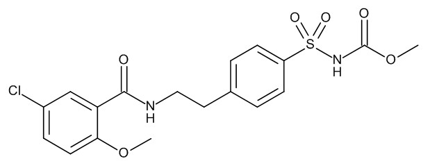 Methyl N-4[2-(5-chloro-2-methoxybenzamido)ethyl]benzenesulphonyl carbamate