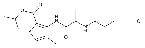 1-Methyl-ethyl 4-Methyl-3-[[(2RS)-2-(propylamino)propanoyl]amino]thiophene-2-carboxylate Hydrochloride (Articaine Isopropyl Ester Hydrochloride)