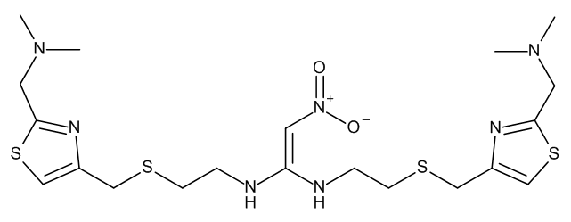 N,N'-Bis[2-[[[2-[(dimethylamino)methyl]thiazol-4-yl]methyl]sulphanyl]ethyl]-2-nitroethene-1,1-diamine